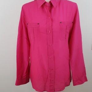 Chico's EUC Pink Cotton/Silk Blouse Size 2 (L)
